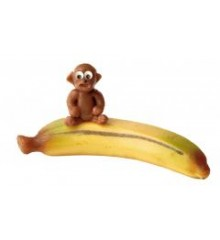 Opice na banánu – baleno v sáčku - marcipánová figurka - pravý marcipán z mandlí
