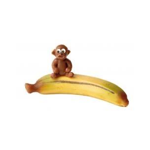 Opice na banánu – baleno v sáčku - marcipánová figurka - marcipán