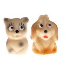 Kočička a pejsek - baleno v sáč. (1 sáček / 2 druhy)  - marcipánová figurka - pravý marcipán z mandlí