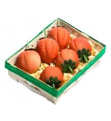 Košíček jahod - marcipánová figurka - pravý marcipán z mandlí