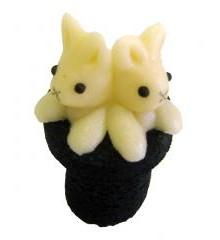 Zajíci v cylindru – baleno v sáčku - marcipánová figurka - pravý marcipán z mandlí