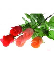 Růže na stonku ( 3 barvy) - marcipánová figurka¨ - pravý marcipán z mandlí