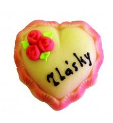 Srdce z lásky – baleno ve smršťovací folii - marcipánová figurka - pravý marcipán z mandlí