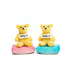 """Marcipánový medvídek """"Miluji tě"""" - marcipánové figurky na svatební dort - marcipán"""