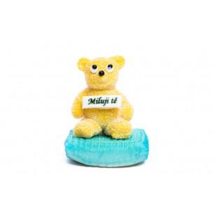 """Marcipánový medvídek """"Miluji tě"""" modrý - marcipánové figurky na svatební dort - marcipán"""