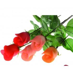 Marcipánová růže na stonku růžová - marcipán