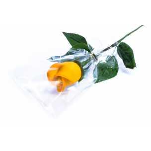 Marcipánová růže na stonku žlutá - marcipán