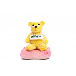 """Marcipánový medvídek """"Miluji tě"""" růžový- marcipánové figurky na svatební dort - marcipán"""