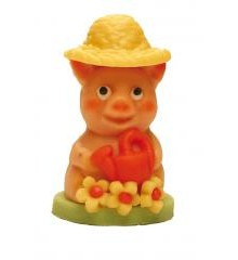 Prasátko Franci zahradník – baleno v sáčku - marcipánová figurka - pravý marcipán z mandlí